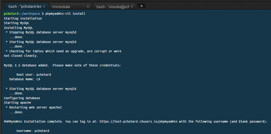 Cloud9 bash install phpmyadmin